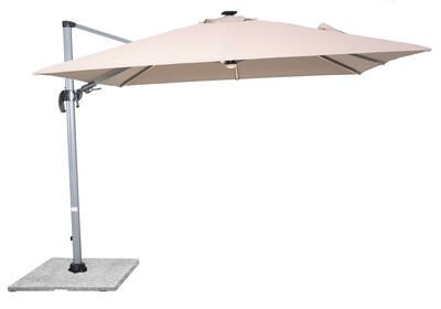 Truro 3.0 x 3.0m Square Side Post Parasol with LED including Sand Protective Cover - Sand