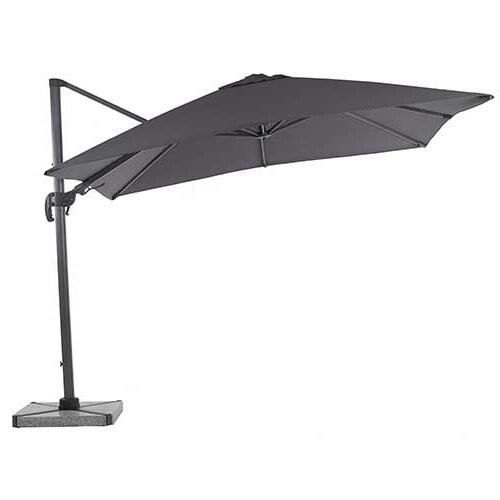 Truro 3.0 x 3.0m Square Side Post Parasol with LED including Sand Protective Cover - Grey