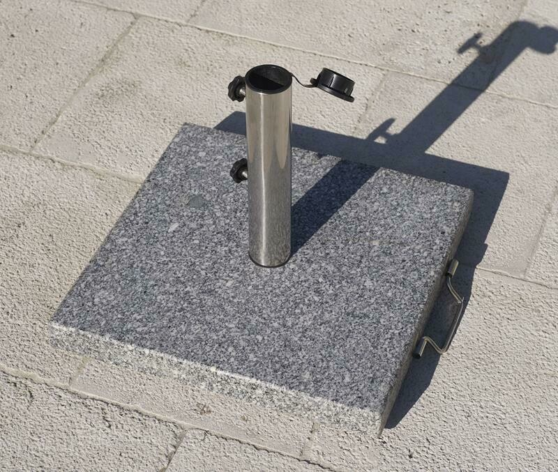 Grey Square Granite Base 25kg with 2 wheels and 1 handle. Stainless Steel Tube