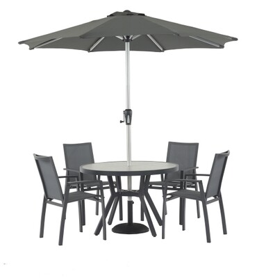 Seville 110cm Round Square Dining Table with 4 Seville Textilene Armchairs & Parasol