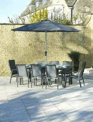 Seville 204 x 95cm Rectangle Dining Table with 6 Seville Textilene Armchairs, 2 Recliners & Parasol