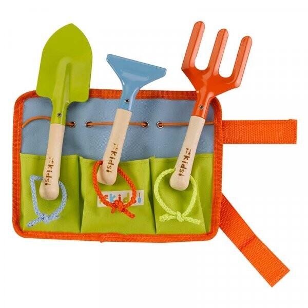 Tool Belt & 3 Wooden Handled Tools