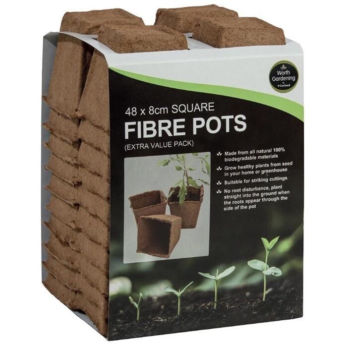 8cm Square Fibre Pots (48)