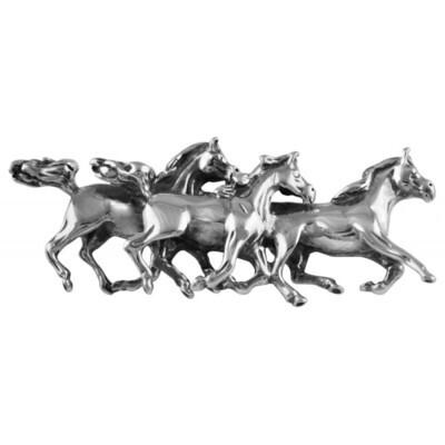 Sterling Silver Galloping Horses Brooch