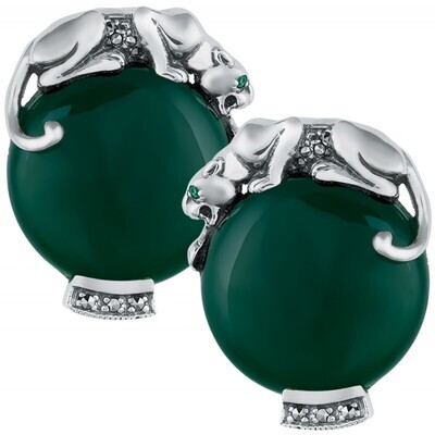 Sterling Silver Panther Green Earrings