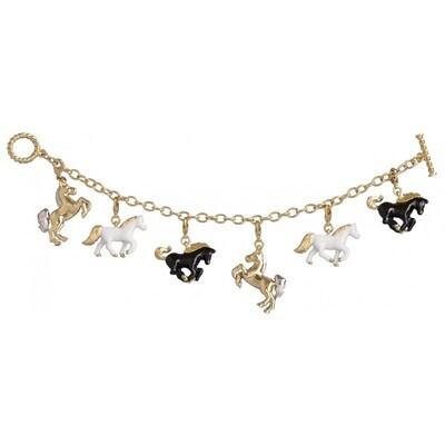 Gold Plated Horse Charm Bracelet