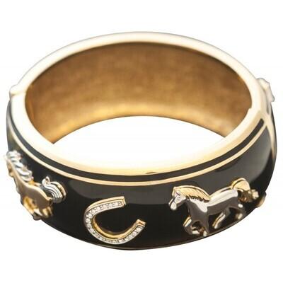 Gold Plated Horseshoe Charm Bangle