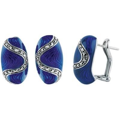 Blue Marcasite Oval Earrings