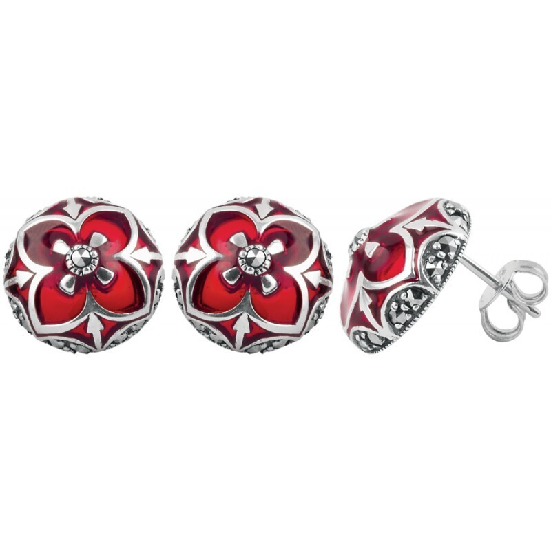 Red Marcasite Round Earrings