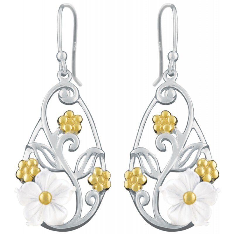 Sterling Silver & Gold Plated Floral Earrings