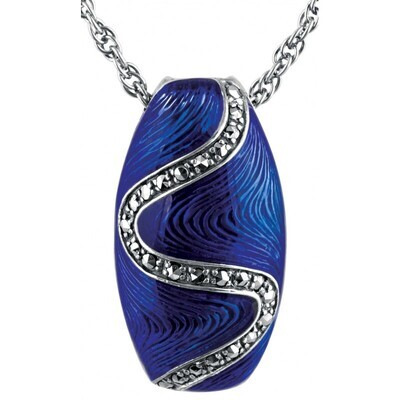 Blue Enamel Marcasite Oval Necklace