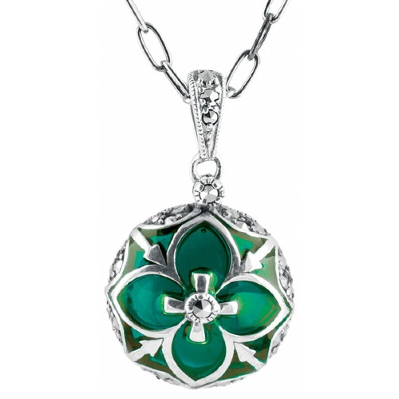 Green Enamel Marcasite Round Necklace