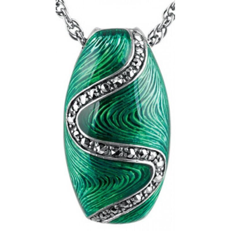 Green Enamel Marcasite Oval Necklace
