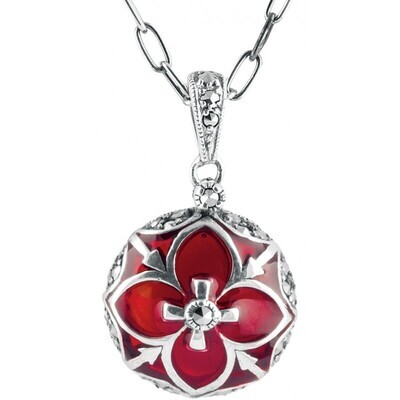 Red Enamel Marcasite Round Necklace