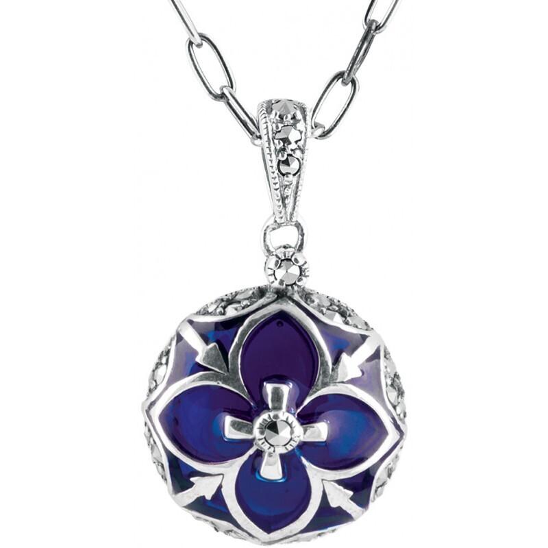 Blue Enamel Marcasite Round Necklace