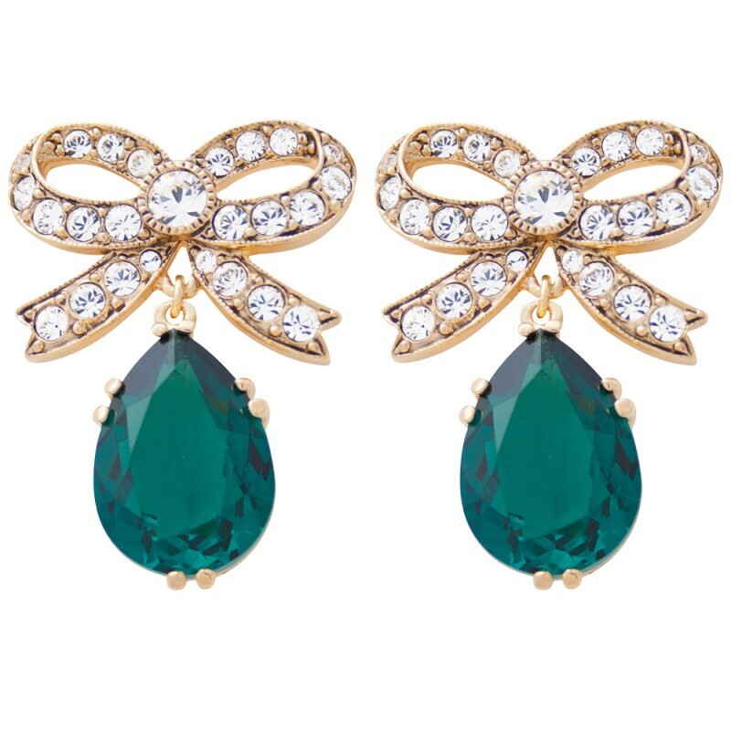 Green Crystal Bow Earrings