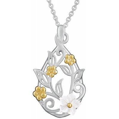 Sterling Silver & Gold plated floral pendant