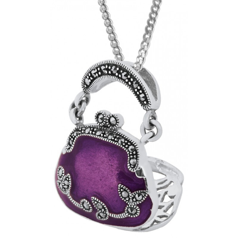 Silver Violet Purse Pendant