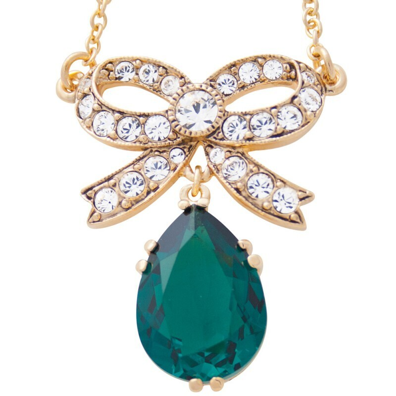 Green Crystal Bow Pendant