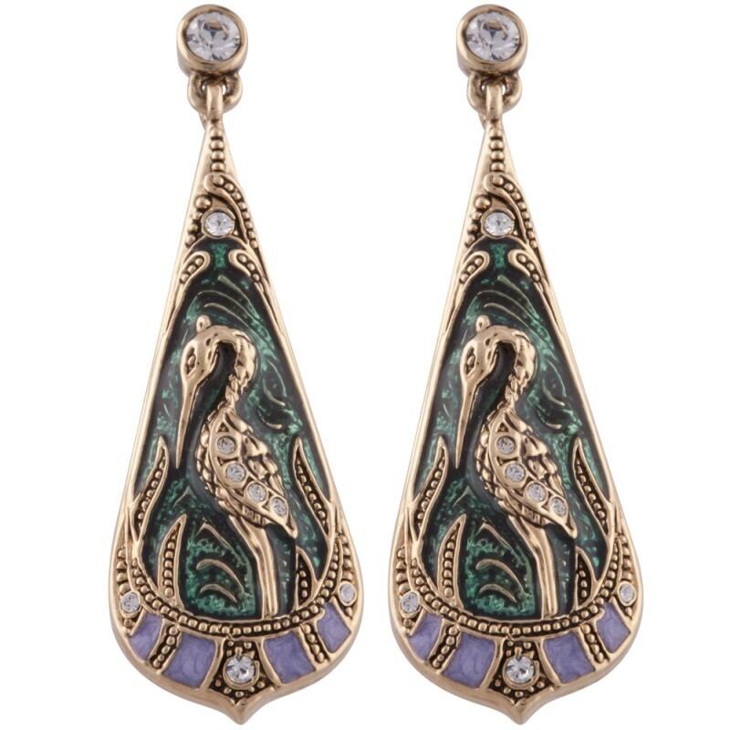Green Heron Teardrop Earrings