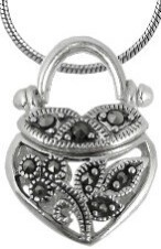 Purse shaped sterling silver pendant