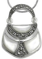 White purse shaped sterling silver pendant