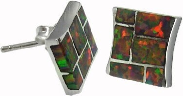 Geometric multicolor earrings with opal resin