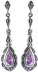 Lilac crystal sterling silver earrings