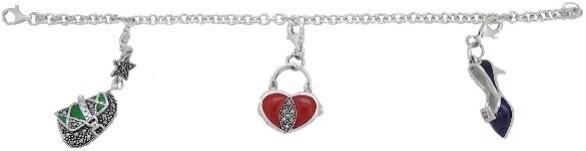 Shoe and heart charm bracelet