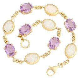 Gold plated sterling silver bracelet with amethyst and white opal resin