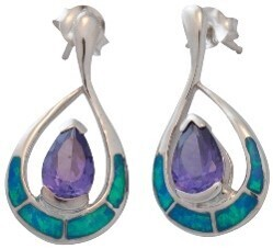 Amethyst and blue opal resin Earrings