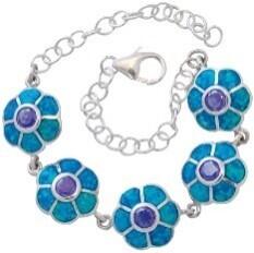 Amethyst and blue opal resin bracelet