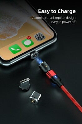 180 Degree Magnetic 3 In 1 USB Cable (2M) RED
