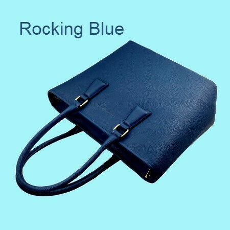 MM Dark Blue Italian Leather Tote Bag