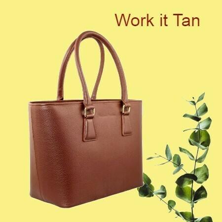 MM Tan Brown Italian Leather Tote Bag