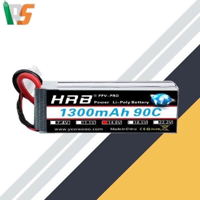 HRB 4S 14.8V 1300mAh 90C High Power LiPo Battery Pack with XT60 Plug for Racing Drone Multirotors FPV