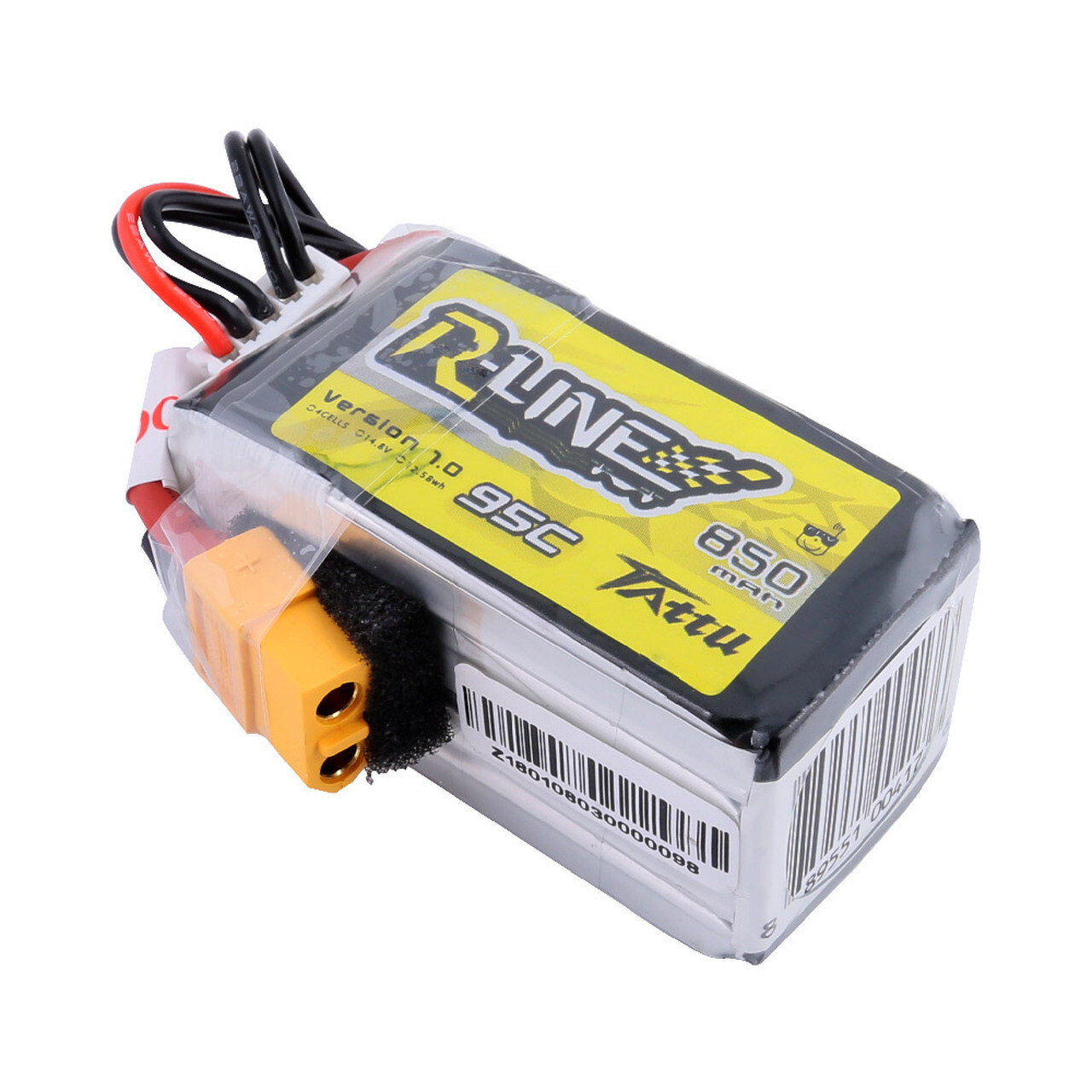 Tattu R-Line 850mAh 14.8V 4S1P 95C Lipo Battery with XT30 Plug