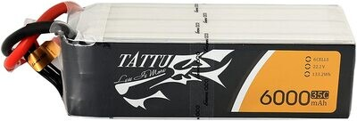 TATTU 6000MAH 6S1P 35C 22.2V LIPO BATTERY PACK WITH XT60 PLUG