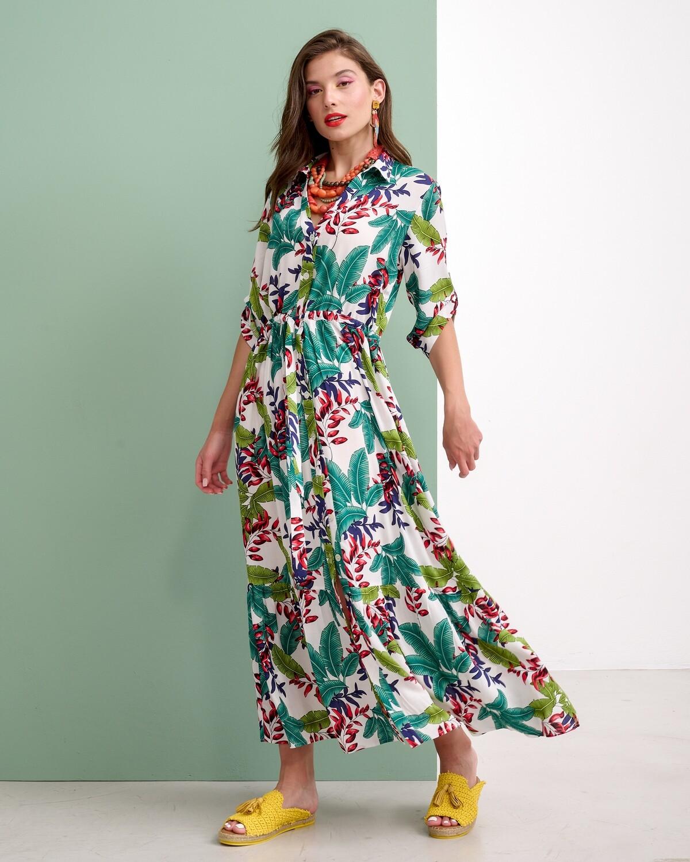 Floral Σεμιζιέ Maxi Φόρεμα