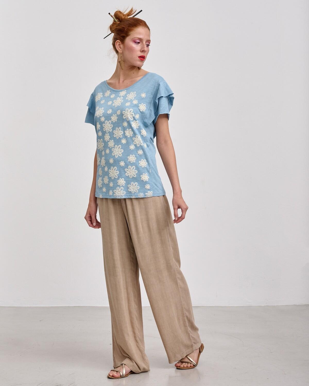 Βαμβακερή Μπλούζα με Στάμπα
