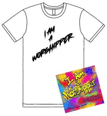 """I Am a Worshipper"" T-Shirt and CD Bundle"