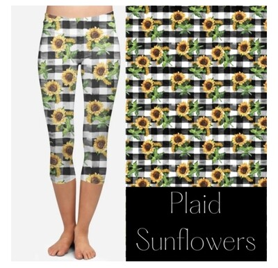 Plaid Sunflower Capri Leggings