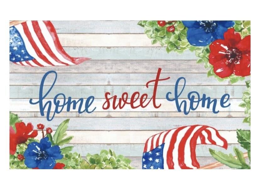 Patriotic Home Sweet Home Floor Mat