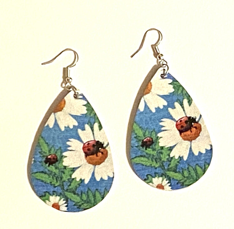Ladybug Leather Earrings