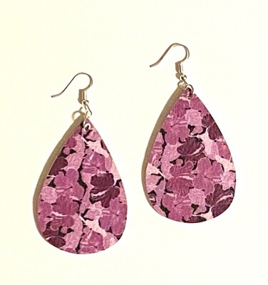 Purple Floral Leather Earrings