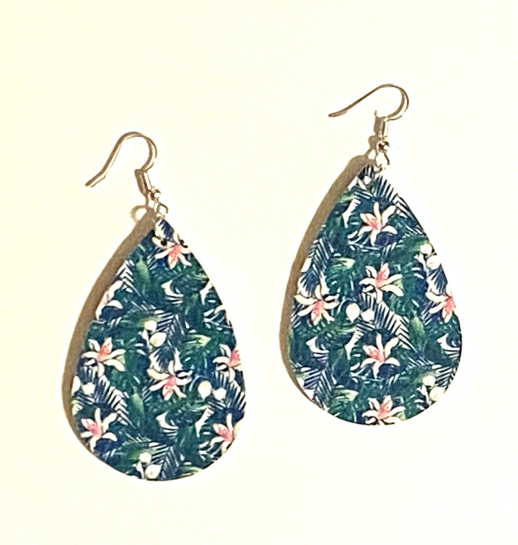 Green Tropical Leather Earrings