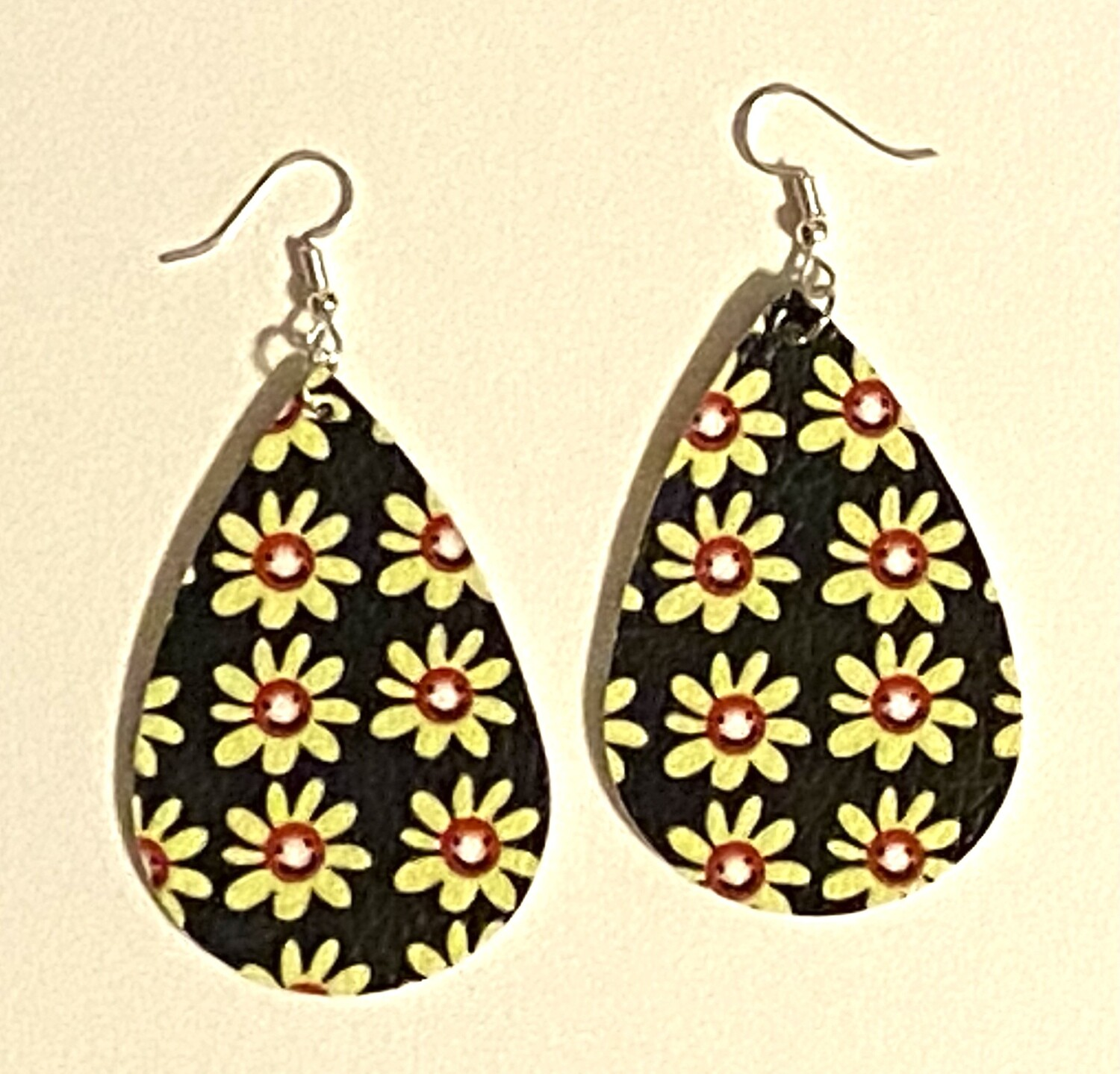 Smiley Floral Leather Earrings