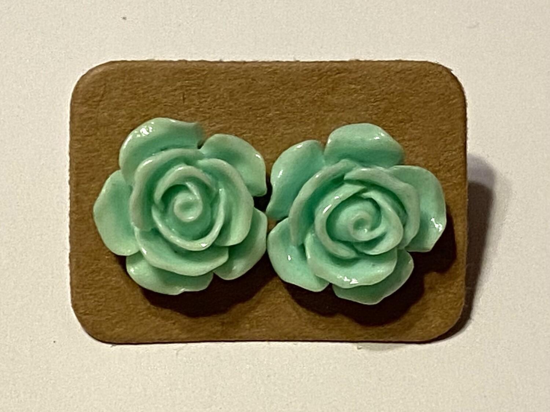 Mint Green Floral Studs