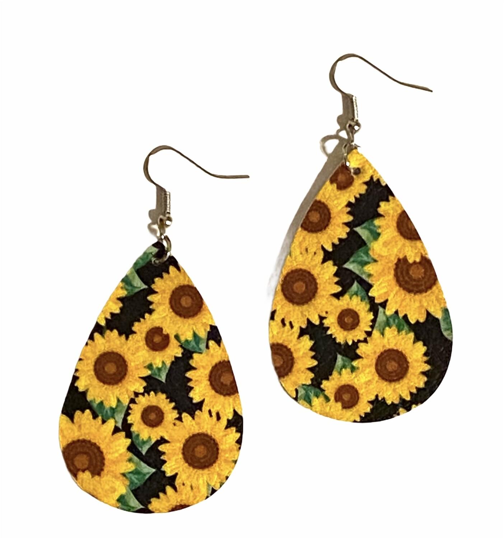 Sunflower Leather Earrings