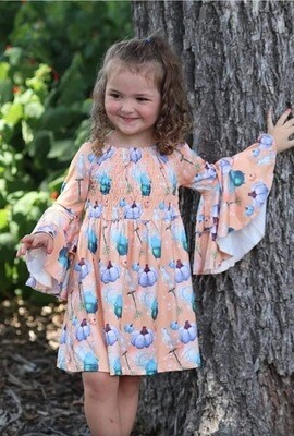 Ghost & Pumpkin Dress with Bell Sleeves